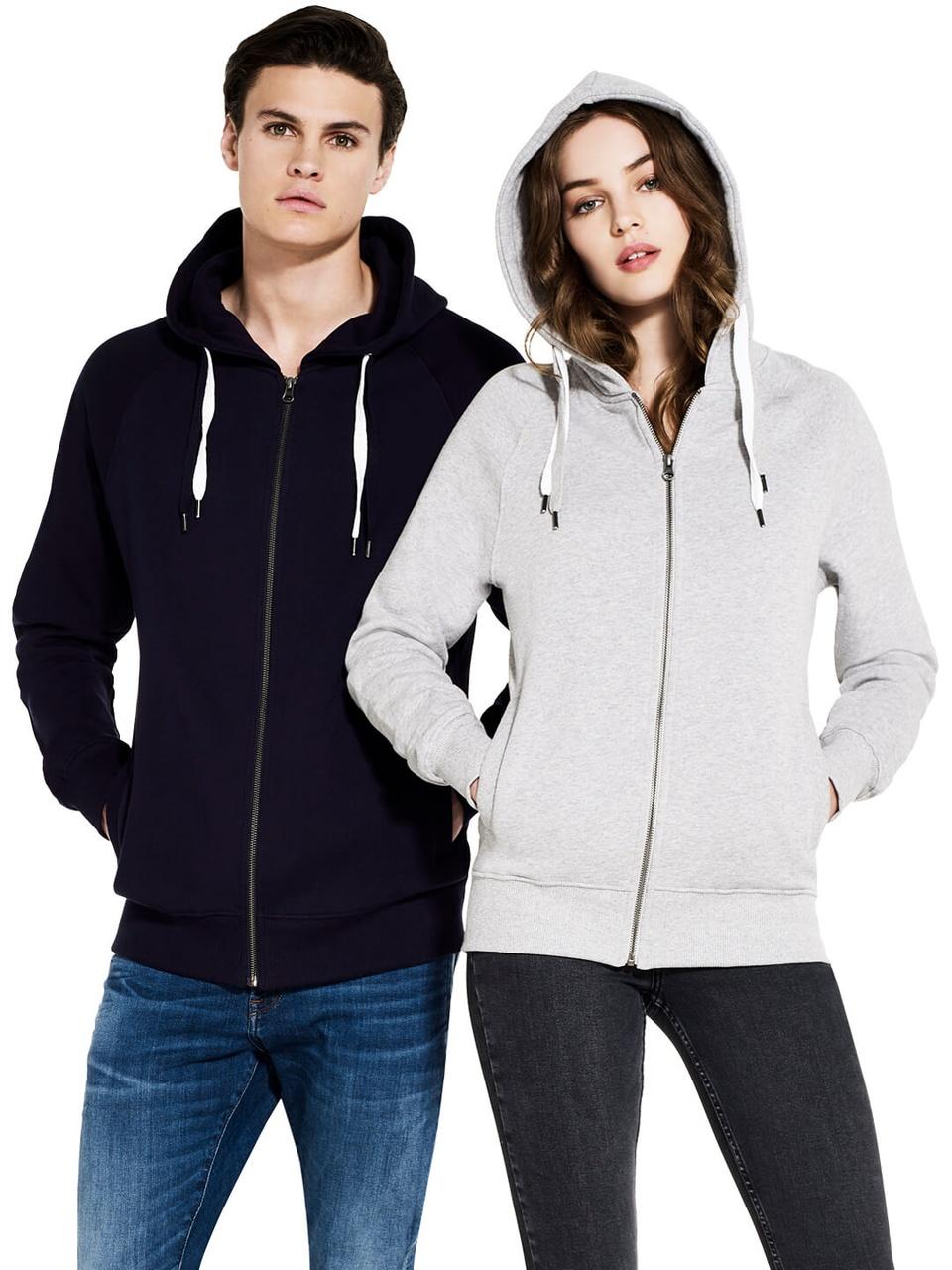 Unisex Organic Style Zip Hooded Sweatshirt